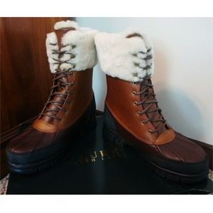 Ralph Lauren Quinta Leather Sherpa Boots NWT 6.5